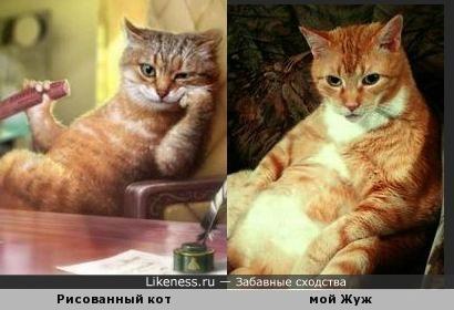 Кот в кресле: рисованный и живой