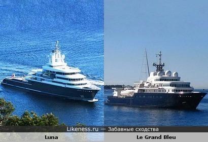 Яхта Luna (длина 114,2 м) и яхта Le Grand Bleu (длина 112,8 м) похожи не только по размерам и внешнему виду