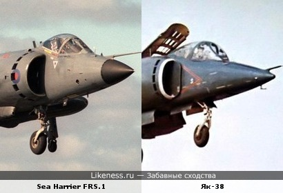 Самолёт Як-38 напоминает самолёт Sea Harrier FRS.1