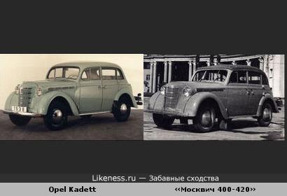 Автомобили «Москвич 400-420» и Opel Kadett похожи, как братья-близнецы