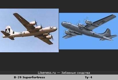 Самолёты B-29 и Ту-4 похожи, как братья-близнецы