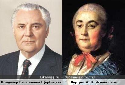 Портрет А. М. Измайловой работы А. П. Антропова напоминает Владимира Васильевича Щербицкого