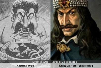 Карикатура на Сталина напоминает Дракулу.