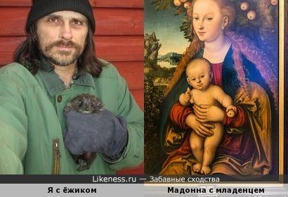 """Мой автопортрет с ёжиком напомнил """"Мадонну с младенцем под яблоней"""