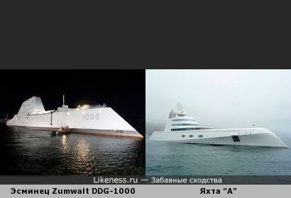 "Эсминец Zumwalt DDG-1000, строящийся для ВМС США, напоминает яхту ""А"