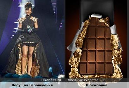 Платье напомнило шоколадку в фольге