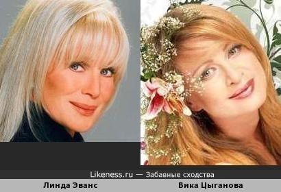 "Линда Эванс (звезда ""Династии"") и Вика Цыганова"