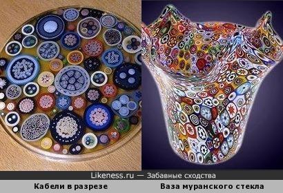 Кабели в разрезе и ваза из муранского стекла