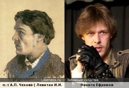 Портрет Антона Чехова (кисти Исаака Левитана) и Никита Ефремов