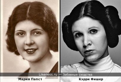 """Мария Папст (""""Мисс Венгрия 1930"""") и Кэрри Фишер"""