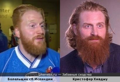 Болельщик сборной Исландии напомнил Кристофера Хивджу