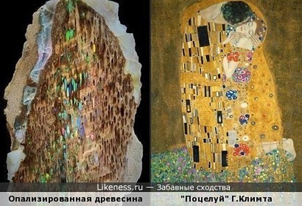 """Опализированная древесина напомнила картину """"Поцелуй"""