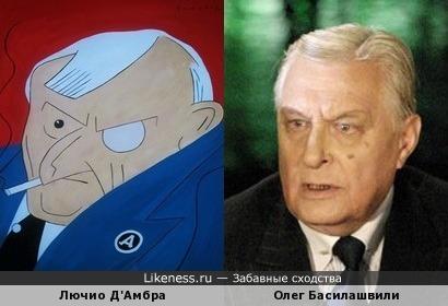 Лючио Д'Амбра на карикатуре Умберто Онорато и Олег Басилашвили