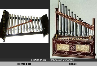 Ударный музыкальный инструмент похож на духовой.