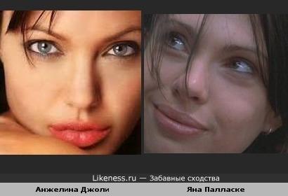 Анжелина Джоли и Яна Палласке похожи, в основном губищщщами.