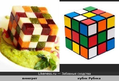 Винегрет оформлен как кубик Рубика
