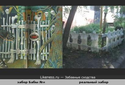 Необычный забор напомнил Бабкину-Ёжкину ограду.