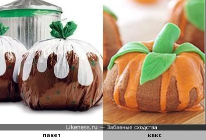 Забавные мусорные пакеты похожи на кексы, похожие на тыкву.