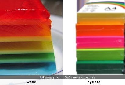 Слоёное желе похоже на цветную бумагу для принтера