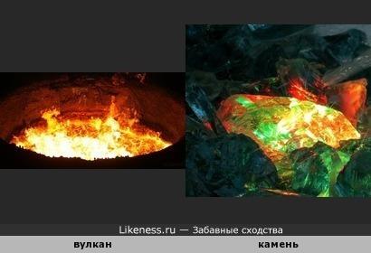 Драгоценный камень похож на жерло вулкана.