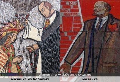 Мозаика из бобовых напомнила мозаичного Ленина