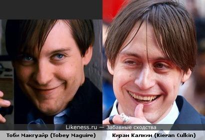 Тоби Макгуайр (Tobey Maguire) и Киран Калкин (Kieran Culkin) похожи