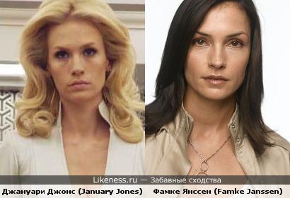 Девушки Икс. Джануари Джонс (January Jones) и Фамке Янссен (Famke Janssen) безумно похожи.