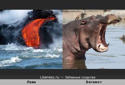 Поток лавы похож на разинутую пасть бегемота