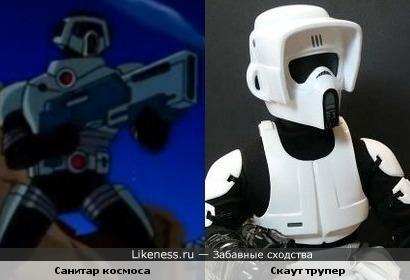 Маска у Санитара космоса (Бен 10) немного напоминает маску у Скаут трупера (из Звёздных войн)