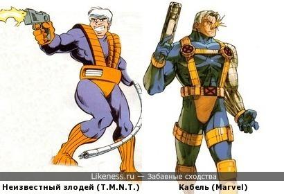 Какой-то злодей из комикса про черепашек ниндзя похож на Кабеля