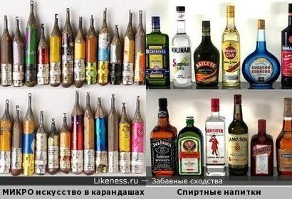 МИКРО искусство в карандашах напомнили бутылки