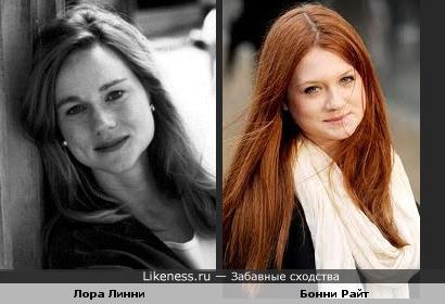 Лора Линни в молодости и Бонни Райт