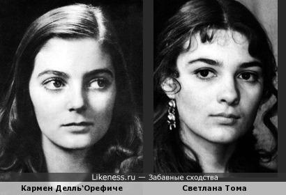 Юная Кармен Делль'Орефиче (до ринопластики) и Светлана Тома