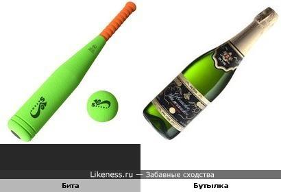 Бейсбольная бита похожа на бутылку шампанского