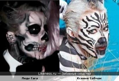 """Леди Гага в клипе """"Born this way"""" похожа на Ксению Собчак в образе зебры"""