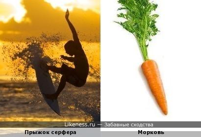 Доска для серфинга с брызгами от воды похожа на морковь