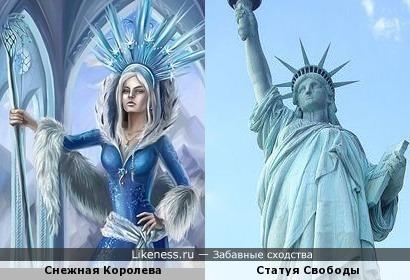 Изображение Снежной Королевы напоминает Статую Свободы