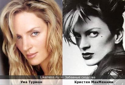 Ума Турман похожа на Кристен МакМенами в молодости