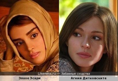 Иранская и российская актрисы: Элахе Эсари и Агния Дитковските