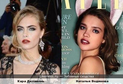 Модели Кара Делавинь и Наталья Водянова