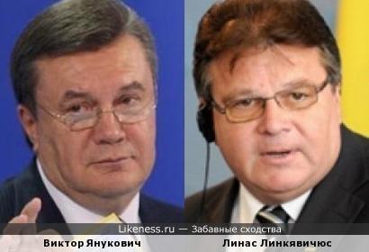Политики Виктор Янукович и Линас Линкявичюс