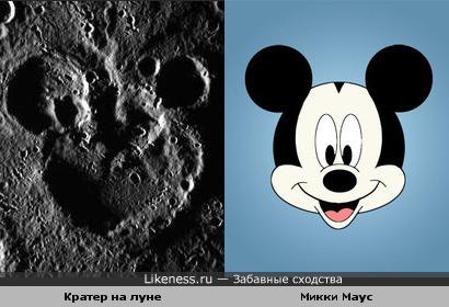 Кратер на луне похож на Микки Мауса