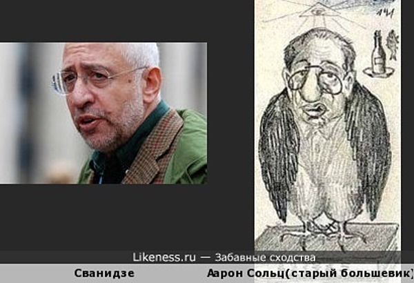 Карикатура большевика Николая Бухарина на своего соратника Аарона Сольца похрожа на Сванидзе