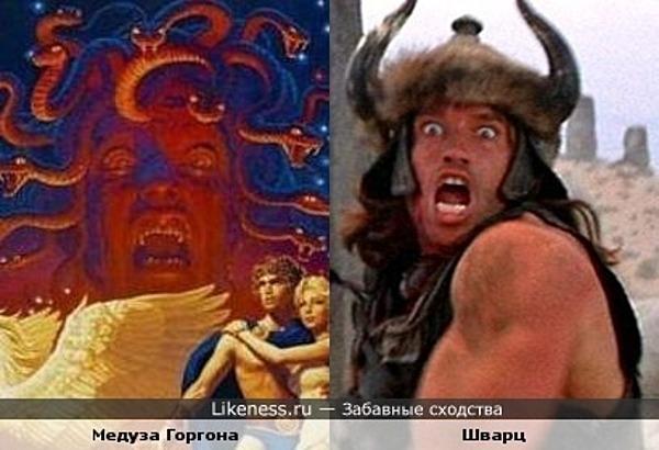 """Медуза Горгона с постера """"Битвы титанов"""" 1981 г. похожа на Шварценеггера"""