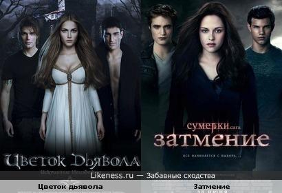 Постер нашего Цветка дьявола похож на постер Затмения