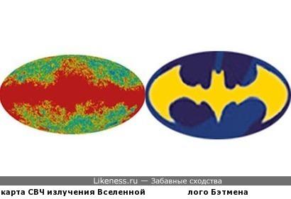В карте СВЧ излучения Вселенной мерещится лого Бэтмена