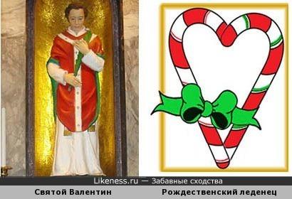 Триколор статуи Св.Валентина напомнил символ Рождества - полосатый леденец