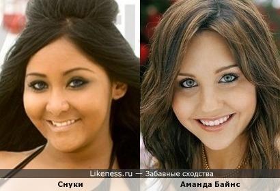 На этом фото Николь Элизабет «Снуки» Полицци похожа на Аманду Байнс,только в другой весовой категории.