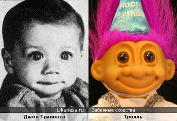 Маленький Джон Траволта похож на игрушечного тролля )