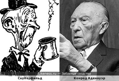 Скуперфильд с иллюстрации Генриха Валька похож на Конрада Аденауэра